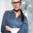 Stock Photo: Closeup portrait of cute young business woman