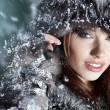 Image of beautiful female in luxurious fur head cloth looking at — Stockfoto #4822005