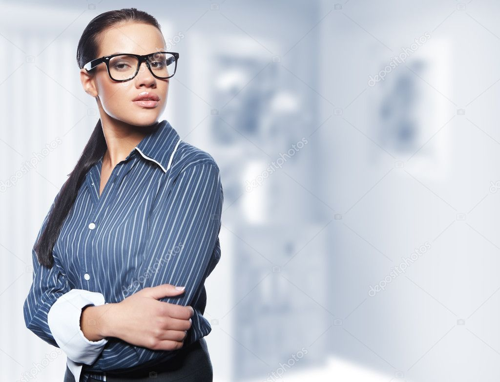 Closeup portrait of cute young business woman — Stock Photo #4821732