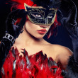 Beautiful woman with mask — Foto Stock
