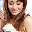 Woman hold cake — Stock Photo #4872970