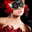 Young sexy woman in violet party half mask. may be use for fashi - Stock Photo