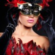 Young sexy woman in violet party half mask. may be use for fashi — Stock Photo