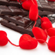 Hearts and chocolate — Stock Photo