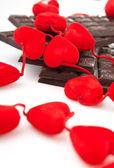 Hearts and chocolate — Stock Photo