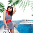 Stock Photo: Sailor girl in yacht marine