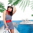 Sailor girl in yacht marine — Stock Photo
