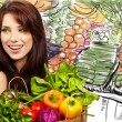 Smiling woman with fruits and vegetables. Over white background — Stock Photo #4898722
