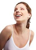 美しい若い女性の顔。白い背景の上の分離 — ストック写真