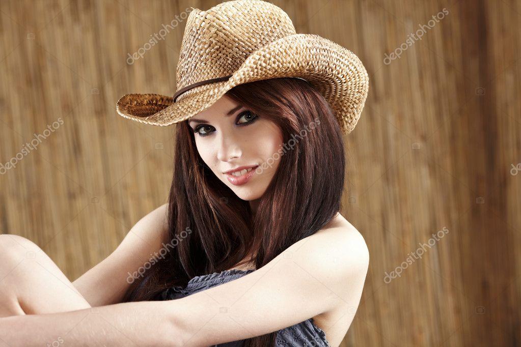 Mujer vaquero sombrero Banco de Imágenes