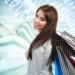 Beautiful shopping woman at a draw mall — Stock Photo #4917707