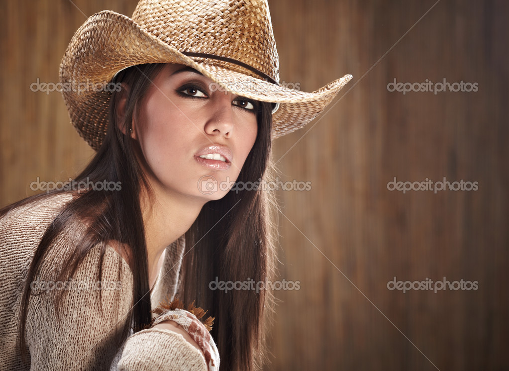sexy woman with cowboy hat stock photo zoomteam 4972839. Black Bedroom Furniture Sets. Home Design Ideas