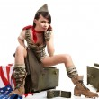American pin-up army girl — Stock Photo