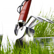 Stock Photo: Garden tools with grass on white