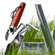 Garden tools with grass on white — Stock Photo