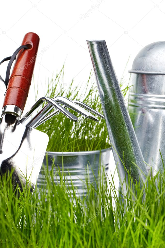 Garden tools and watering can with grass on white  — Stock Photo #5034237