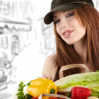 Woman holding a bag full of healthy food. shopping . — Стоковая фотография