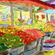Fruits and vegetables shoping.Illustration - Foto de Stock