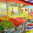 Fruits and vegetables shoping.Illustration - Photo