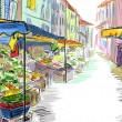 Fruits and vegetables shoping.Illustration - 