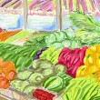 Fruits and vegetables shoping.Illustration — Stock Photo