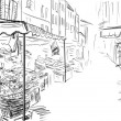 Fruits and vegetables shoping.Illustration sketch — Stock Photo