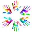 Multi coloured handprints. — Stock Photo #4577892