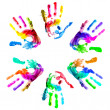 Stock Photo: Multi coloured handprints.