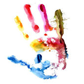 Colored hand print — Stock Photo