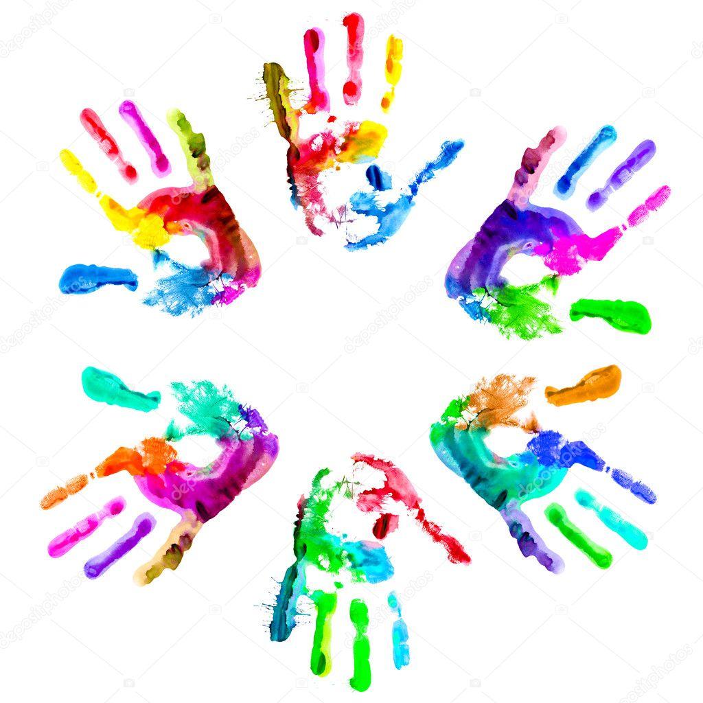 Multi coloured handpri...