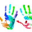 Multi coloured handprints — Stock Photo #4591602