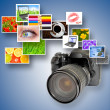 Camera and photographs — Stock Photo