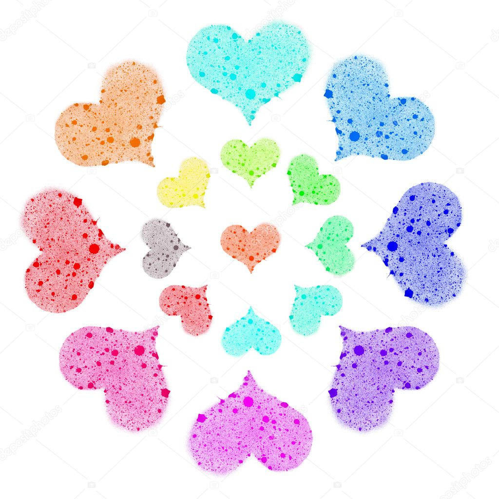 Colorful hearts on white — Stock Photo #4630632
