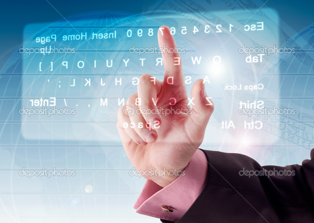 Hand pushing a button on a touch screen — Stock Photo #4694760