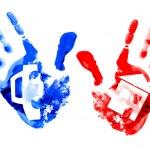 Multi coloured handprints. — Stock Photo