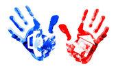 多着色された手形. — ストック写真
