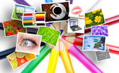 Color pencils and photos — Stock Photo