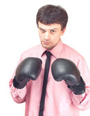 Businessman with boxing gloves. — Stock Photo