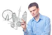 Affärsman ritning en staden i framtiden — Stockfoto