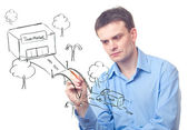 Businessman drawing a bridge — Stock Photo