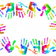 Stock Photo: Multi coloured handprints