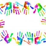 Multi coloured handprints — Stock Photo
