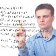 Stock Photo: Young teacher and Mathematical formula