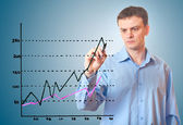 Businessman draws a graph. — Stock Photo