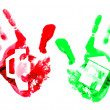 Multi coloured handprints. — Stock Photo #5236802