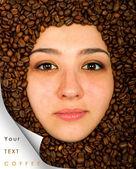 Coffee beans around face — Stock Photo