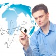 Businessman drawing plane — Stock Photo