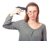 Woman with pistol. — Stock Photo