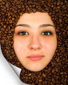 Coffee beans and face — Stock Photo