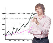Businessman and graph. — Stock Photo